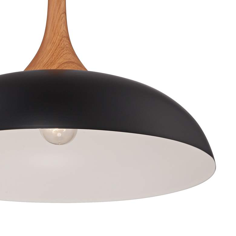 "Felton Black Aluminum and Wood 17 3/4"" Wide Pendant more views"