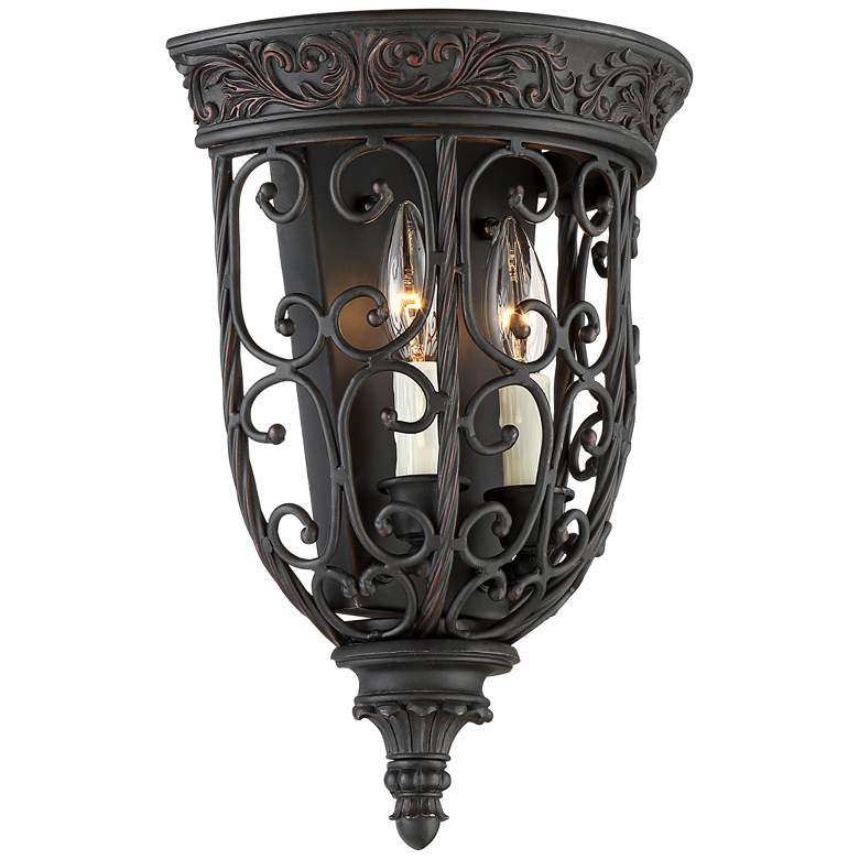 "French Scroll 14 1/4"" High Rubbed Bronze Wall Sconce more views"