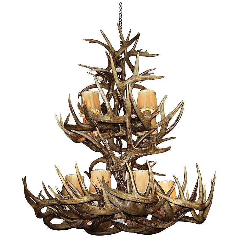 "Mule Deer 28-30""W 12-Light Natural-Shed Antler Chandelier more views"