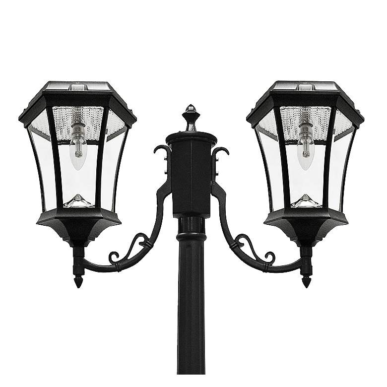 "Victorian Black 90""H 2700K LED 2-Lamp Solar Post Light more views"