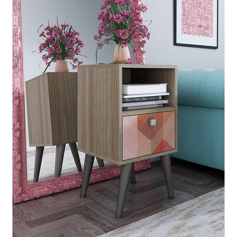 "Abisko 13 3/4"" Wide Oak and Multi-Color Modern Side Table more views"