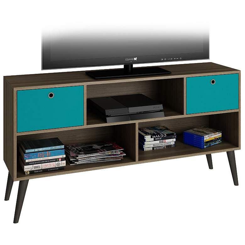 "Uppsala 53 1/4"" Wide Aqua Blue Modern TV Stand more views"