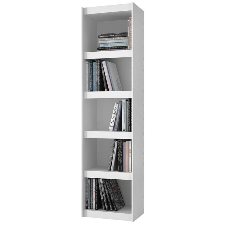 "Parana 71 3/4"" High 5-Shelf White Wood Bookcase more views"
