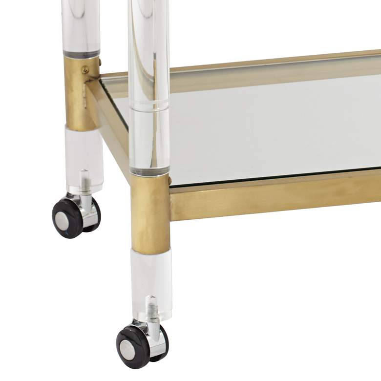 "Adele 31 1/2"" Clear Acrylic and Gold Rectangular Bar Cart more views"