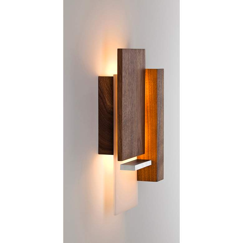 "Vesper 15"" High Oiled Walnut LED Wall Sconce more views"