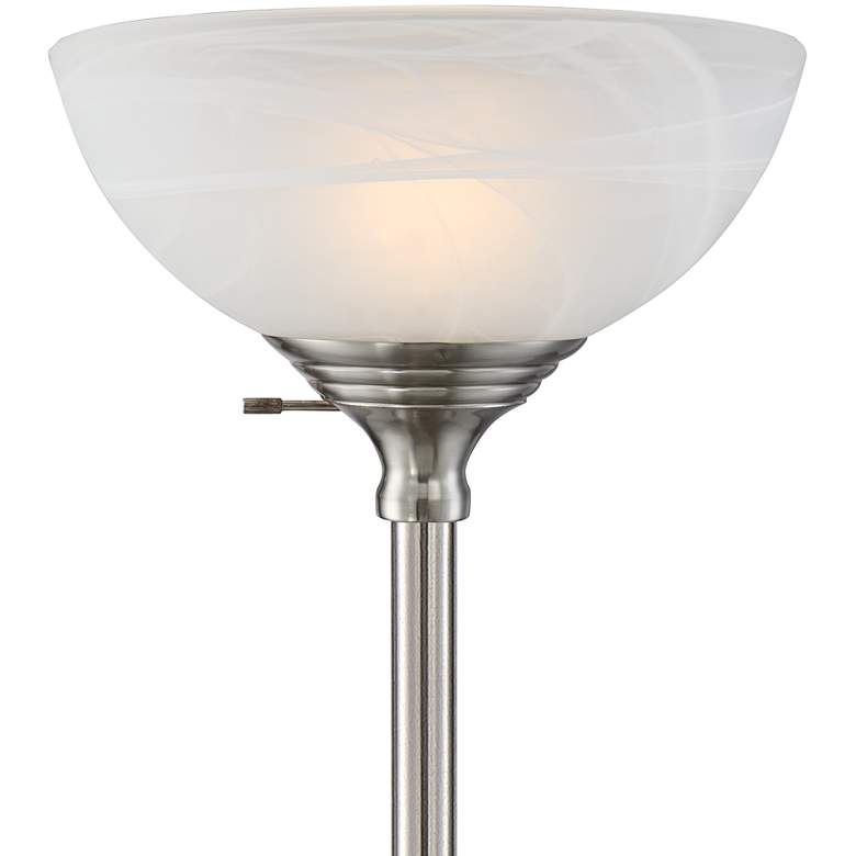 Maddox Satin Nickel Torchiere Floor Lamp more views