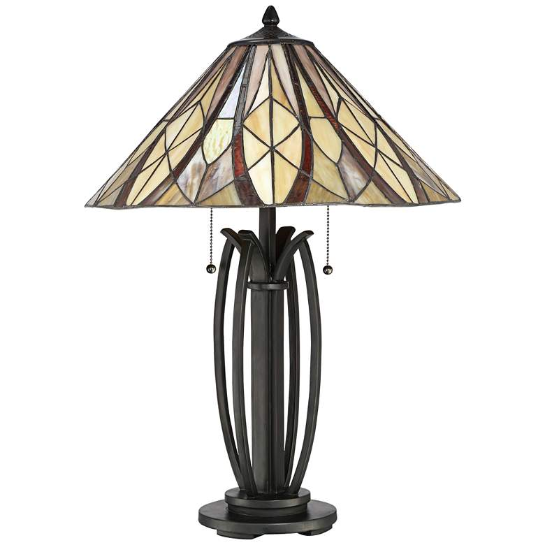 Quoizel Victory Tiffany Style Bronze 2-Light Table Lamp more views