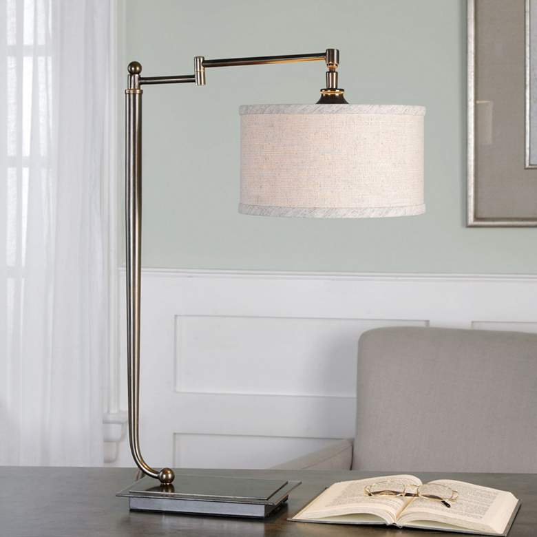 Uttermost Lamine Pivot Arm Iron Desk Lamp more views