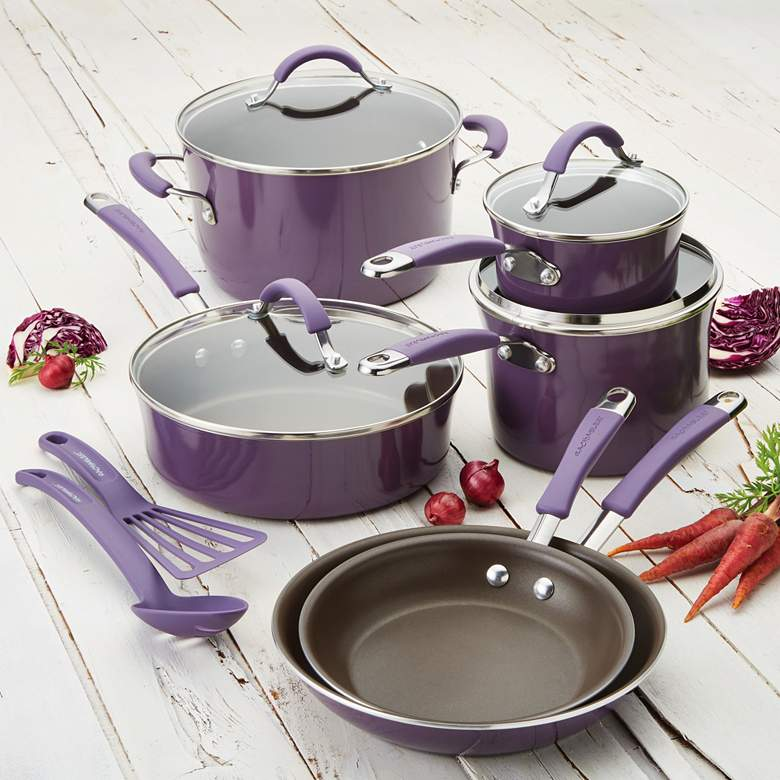 Rachael Ray Lavender Nonstick 12-Piece Cookware Set more views