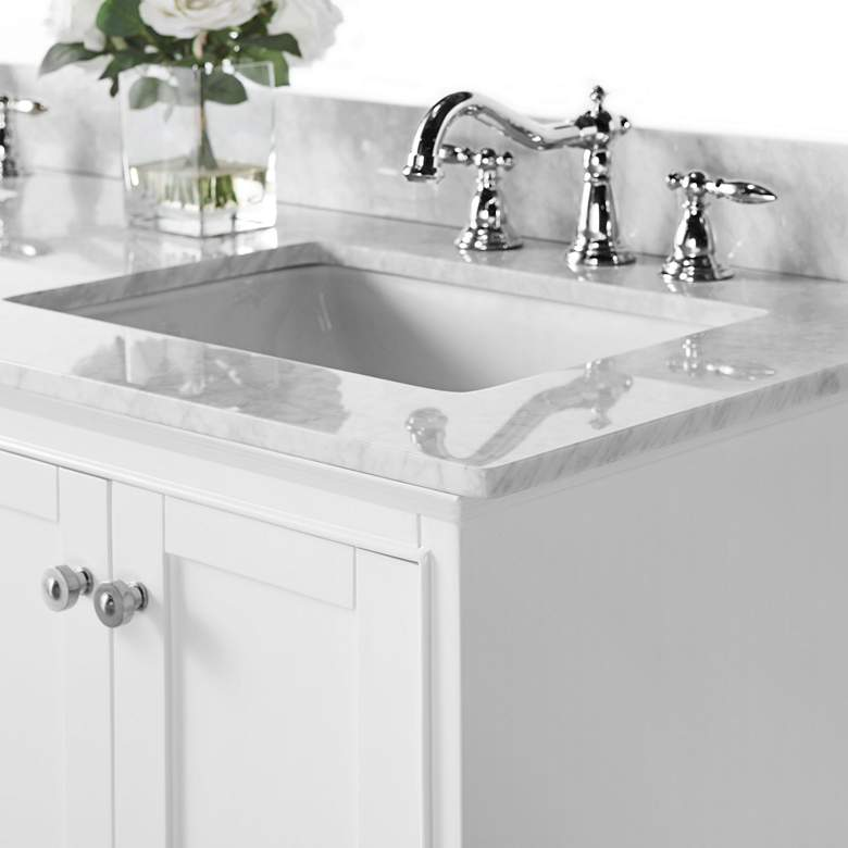 "Audrey White 60""W Italian White Marble Double Sink Vanity more views"