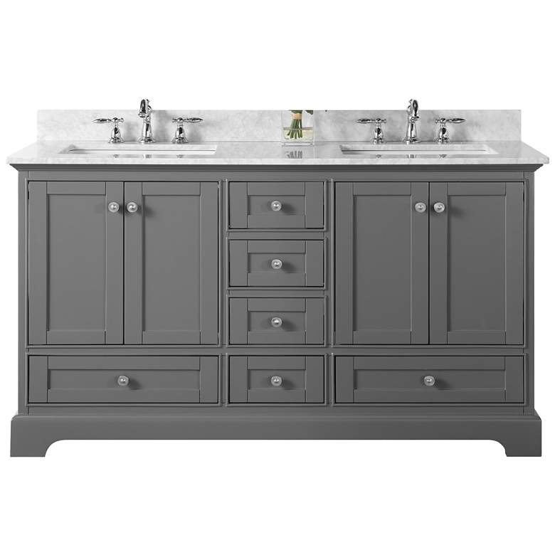 "Audrey Sapphire Gray 60"" White Marble Double Sink Vanity more views"
