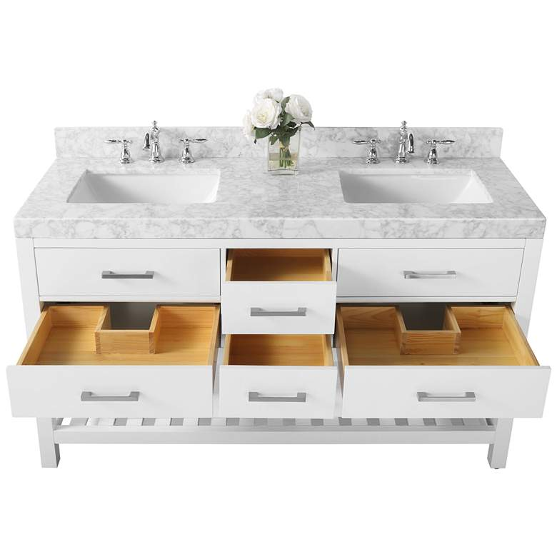 "Elizabeth 60"" Nickel White Italian Marble Double Sink Vanity more views"