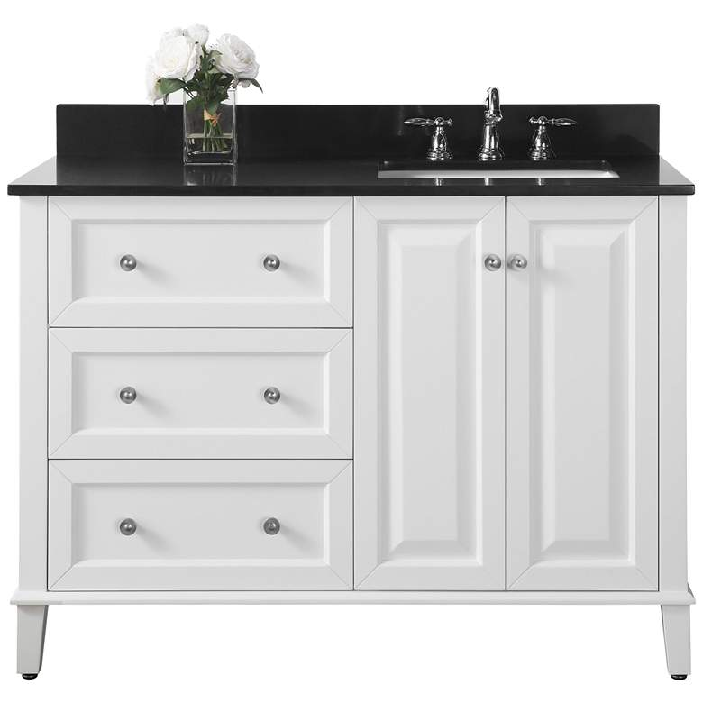 Hannah 48 Quot White Granite Top Off Center Right Sink Vanity
