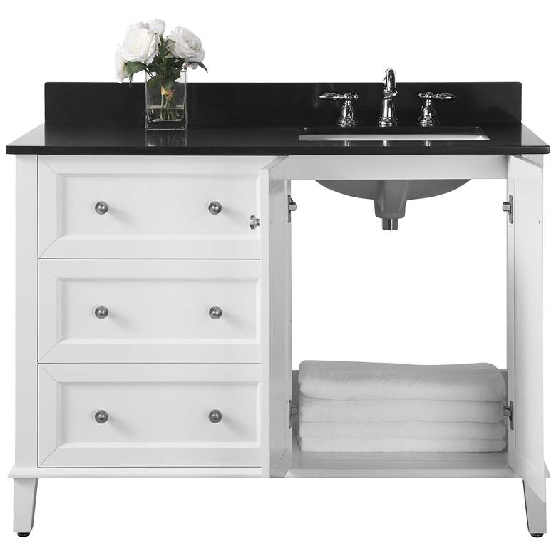 "Hannah 48"" White Granite-Top Off-Center Right Sink Vanity more views"