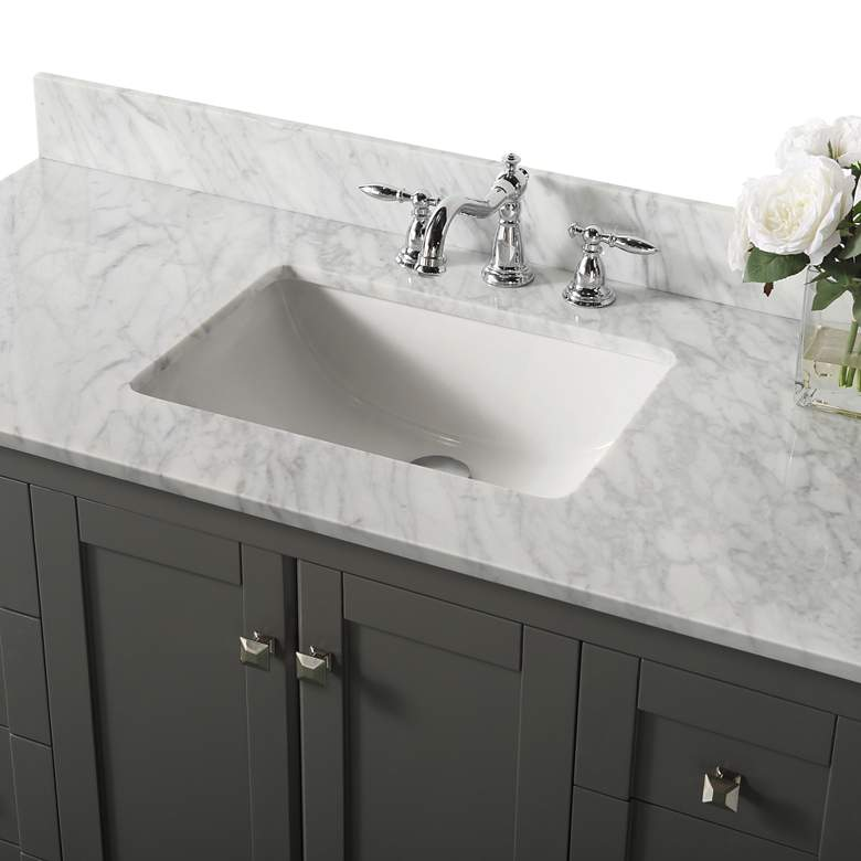 "Shelton Sapphire Gray 48"" White Marble Single Sink Vanity more views"