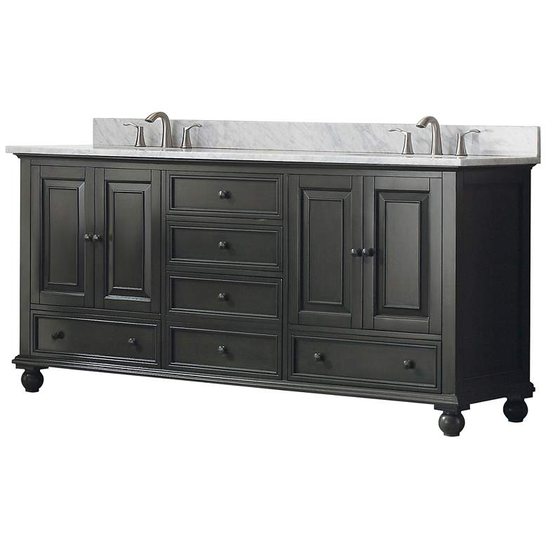 "Avanity Thompson Charcoal 73"" Marble Double Sink Vanity more views"