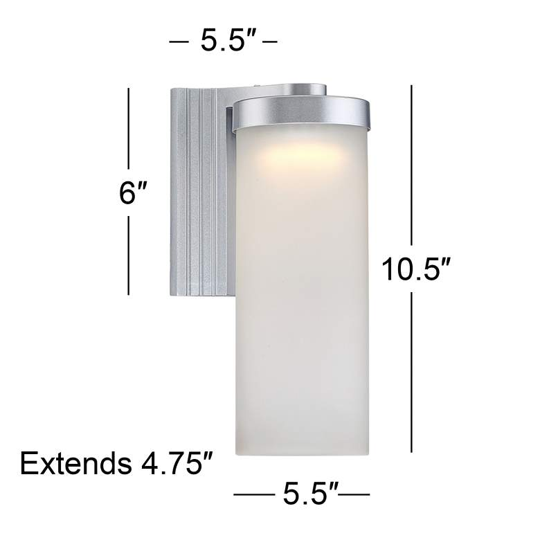 "Set of 2 Cleo 10 1/2"" High Silver LED Outdoor Wall Lights more views"