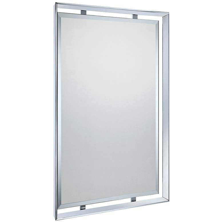 "Quoizel Uptown Ritz Chrome 26"" x 34"" Rectangular Wall Mirror more views"