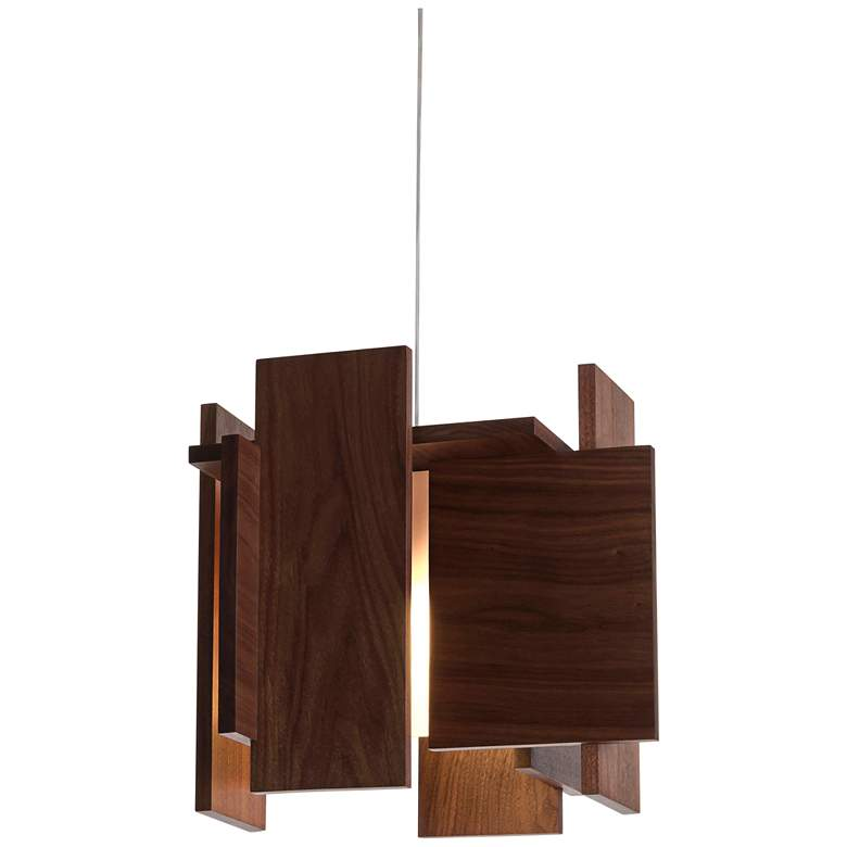 "Cerno Abeo 15"" Wide Dark Stained Walnut LED Pendant Light more views"