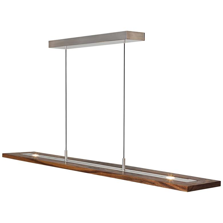 "Cerno Vix 34""W Oiled Walnut LED Kitchen Island Light Pendant more views"