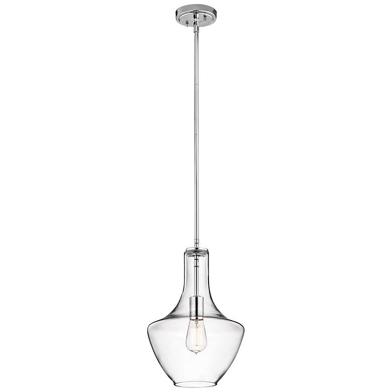 "Kichler Everly 10 1/2""W Chrome and Clear Glass Mini Pendant more views"