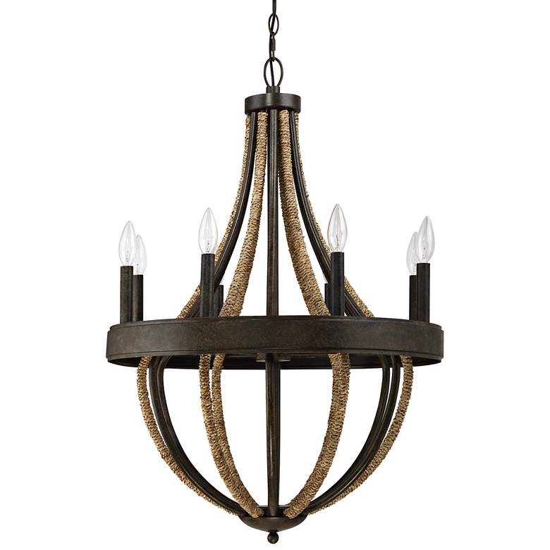 "Quoizel Pembroke Bronze 22 1/2""W Natural Rope Chandelier more views"