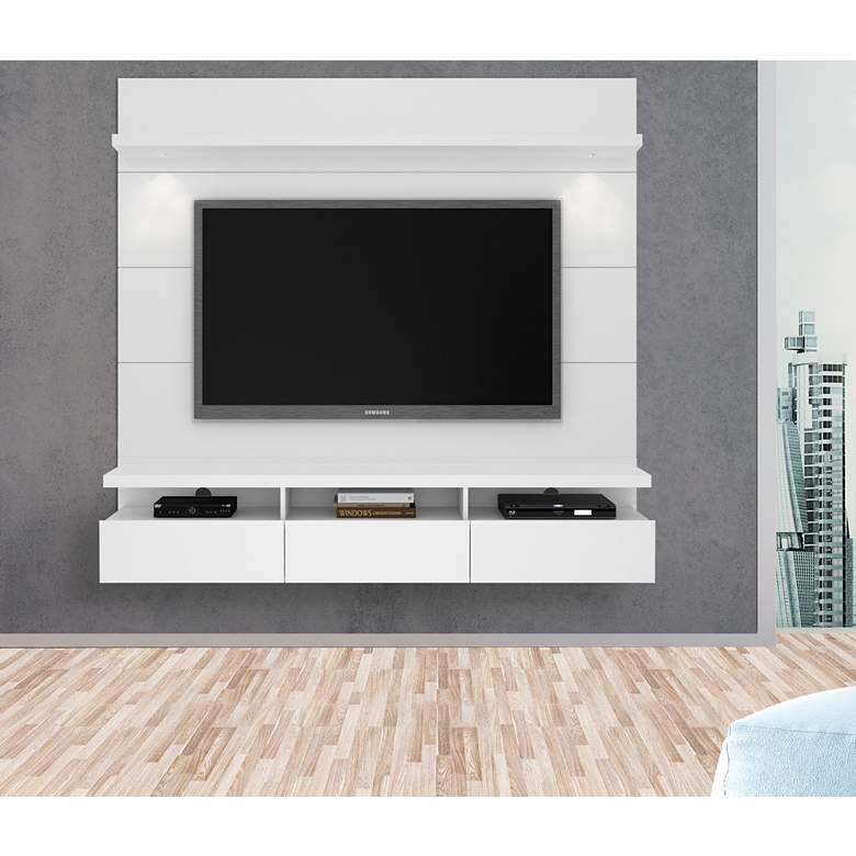 Cabrini 2.2 White Gloss Floating Wall Entertainment Center more views