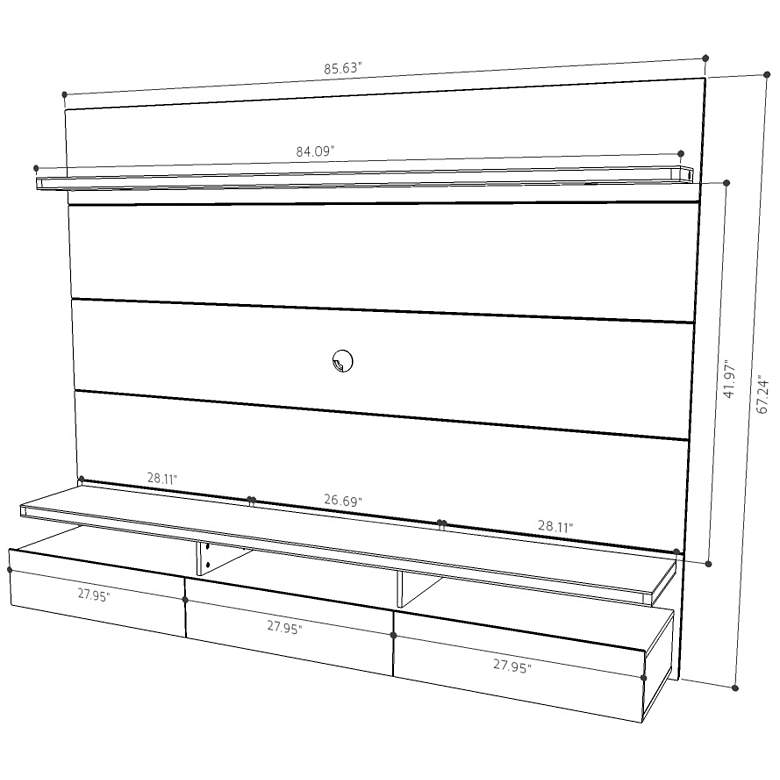 Cabrini 2.2 Black Floating Wall Entertainment Center more views