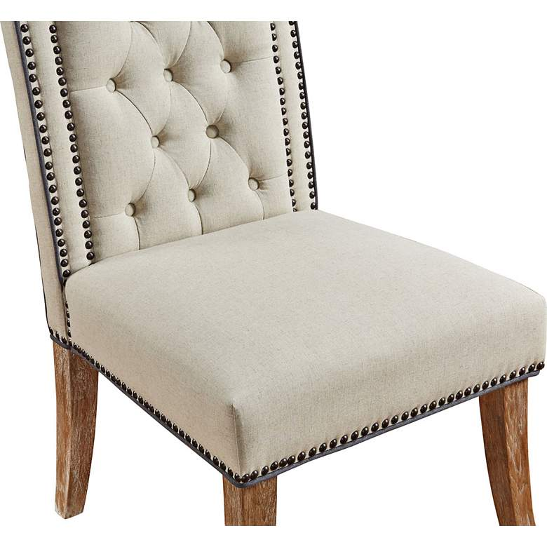 Garrett Beige Linen Tufted Dining Chair Set of 2 more views