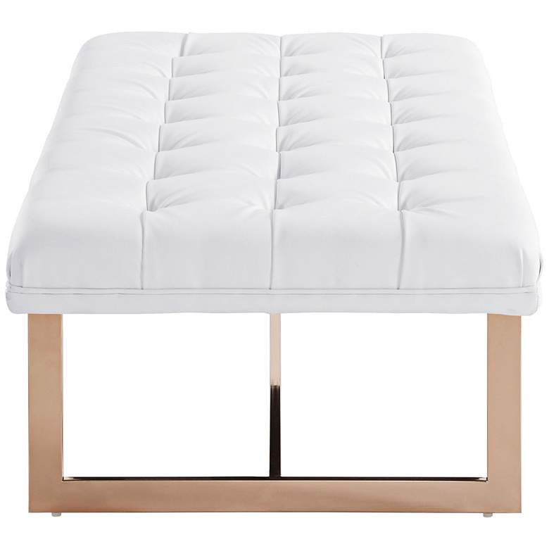 Oppland White Eco Leather Tufted Bench more views