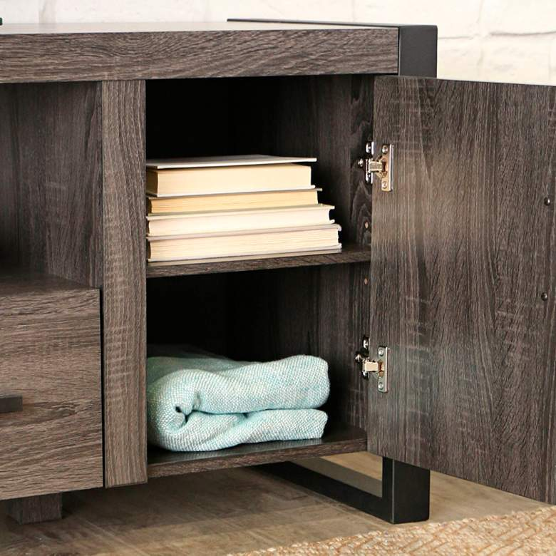Urban Blend 60 Quot Wide Charcoal Gray Media Tv Stand Console