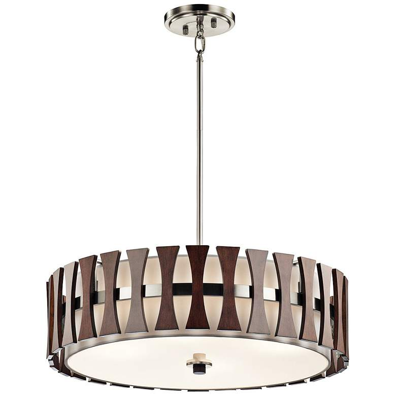 "Kichler Cirus 24"" Wide Auburn Wood Convertible Pendant Light more views"