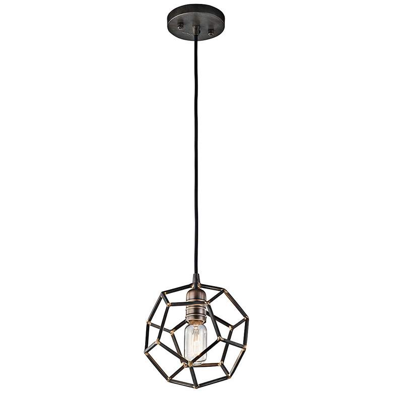 "Kichler Rocklyn 8"" Wide Raw Steel 1-Light Pendant more views"