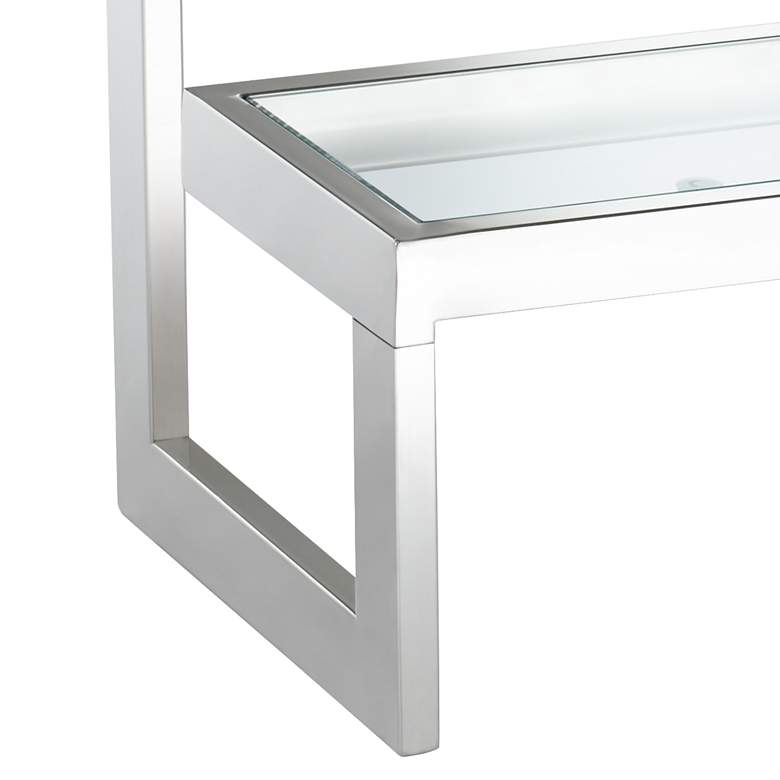 "Rico 39 1/2"" Wide Chrome Glass Shelf Modern Console Table more views"