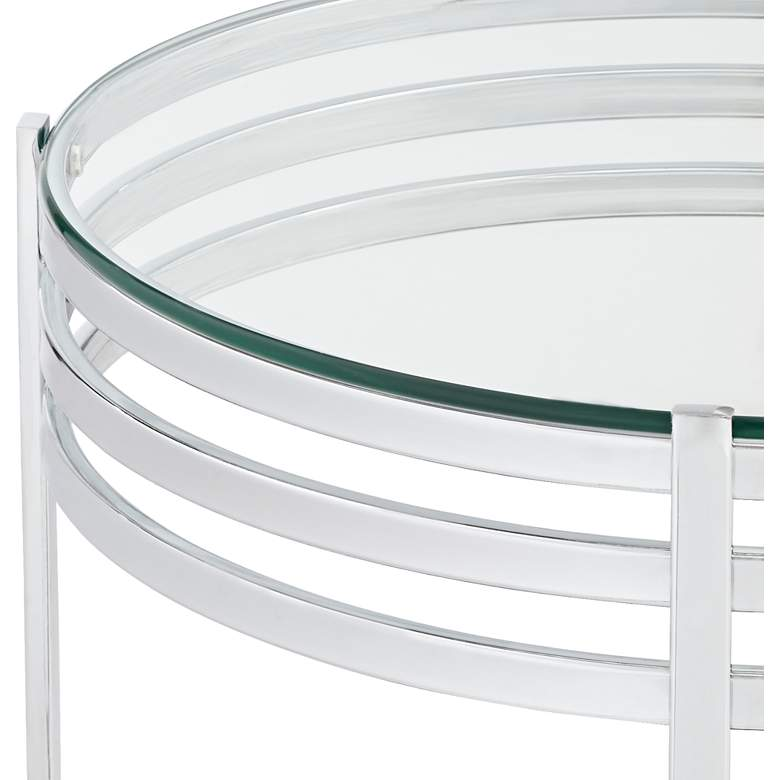 "Rico 21"" Wide Chrome and Glass Modern Round End Table more views"