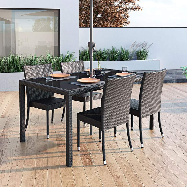 Park Terrace Charcoal Weave Rectangle Patio Dining Table more views
