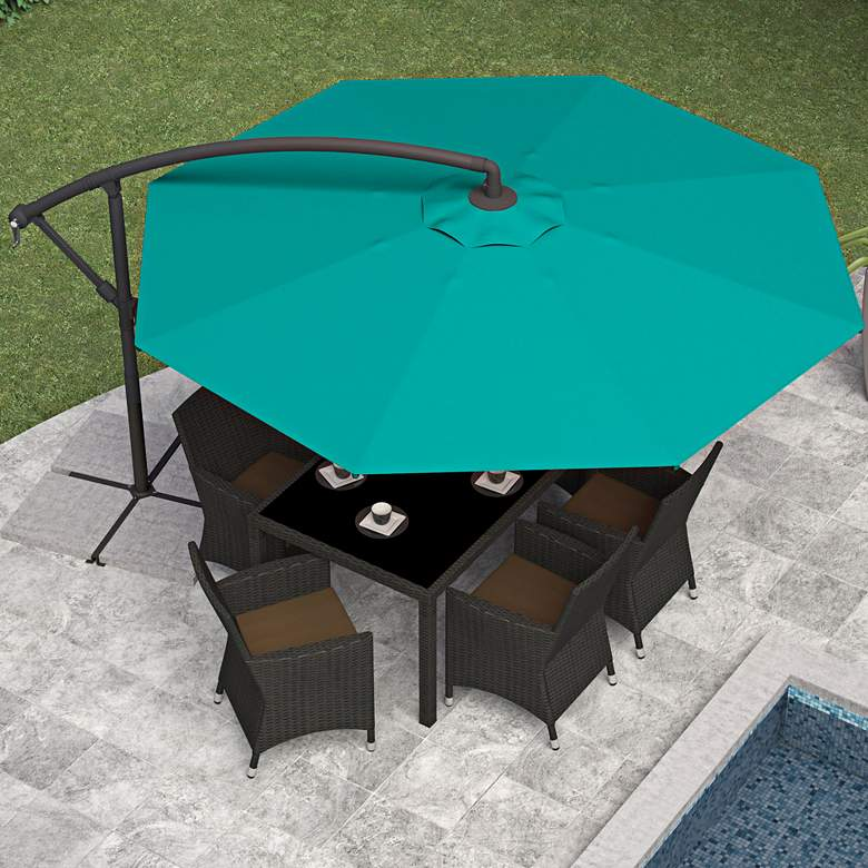 Meco 9 3/4-Foot Turquoise Blue Fabric Offset Patio Umbrella more views