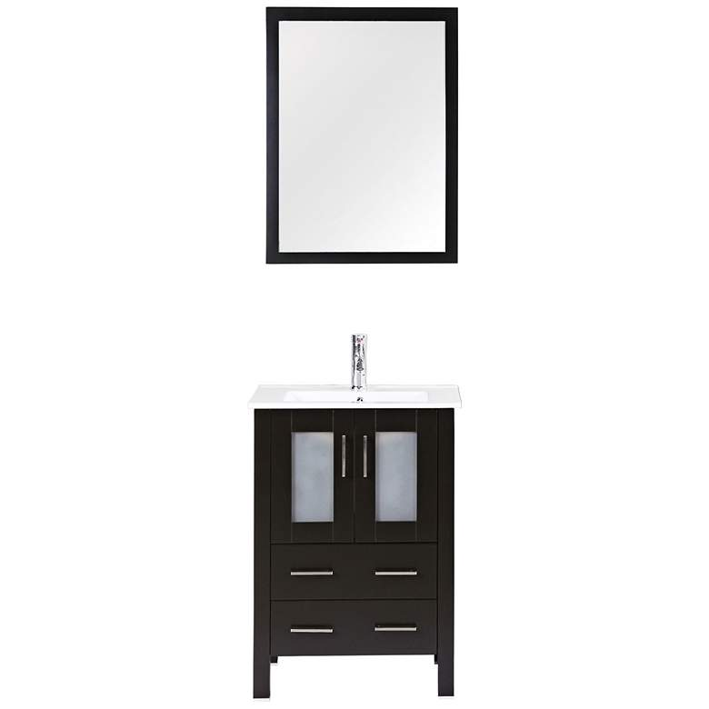 "Bosconi 24"" Espresso Integrated Single-Sink Vanity Set more views"