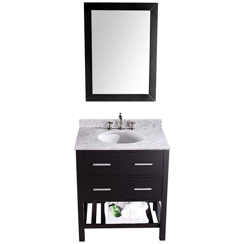 "Bosconi 30"" Black Single-Sink Vanity Set with Mirror more views"