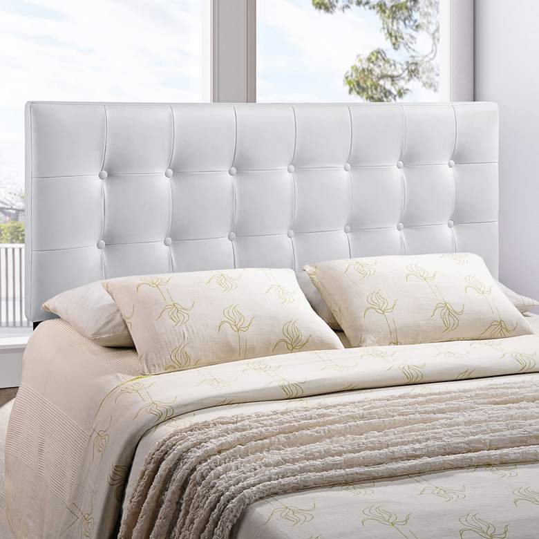 Emily White Button-Tufted Queen Leather Headboard more views