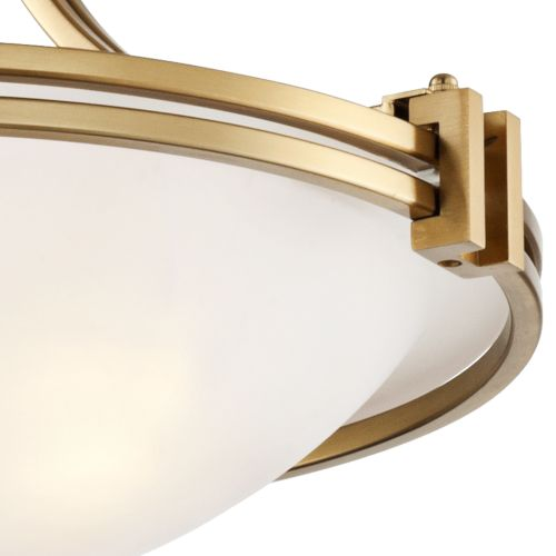 "Possini Euro Deco 16"" Wide Warm Brass Ceiling Light"