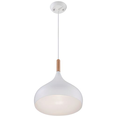 "Felton White Aluminum and Wood 13"" Wide Mini Pendant"