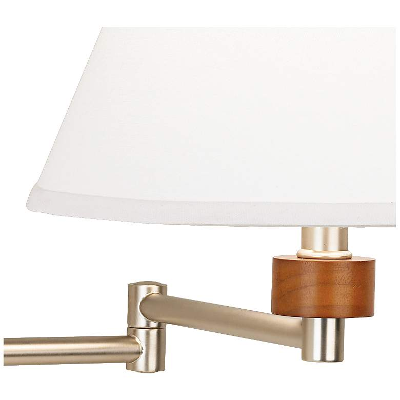 Brushed Nickel Plug-In Swing Arm Wall Lamp W/ Empire Shade more views