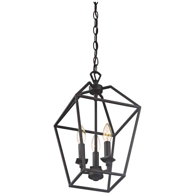 "Quoizel Aviary 9 1/2""W Bronze 3-Light Steel Cage Chandelier more views"