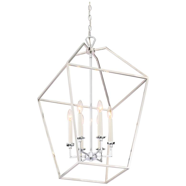 "Quoizel Aviary 20 1/4"" Wide Nickel 6-Light Cage Chandelier more views"