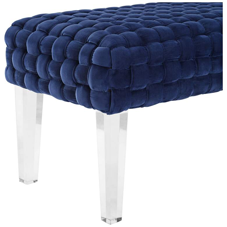 Sal Woven Navy Velvet Bench more views