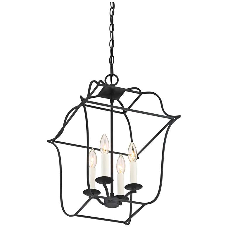 "Quoizel Gallery 14"" W 4-Light Royal Ebony Cage Chandelier more views"