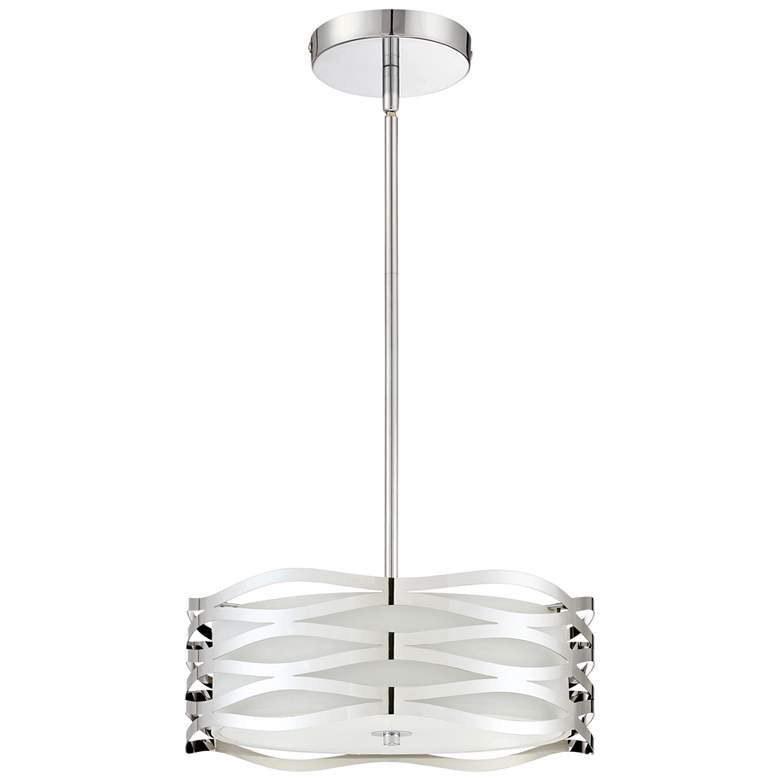 "Quoizel Platinum Mystic 16"" Wide Chrome Drum Pendant Light more views"