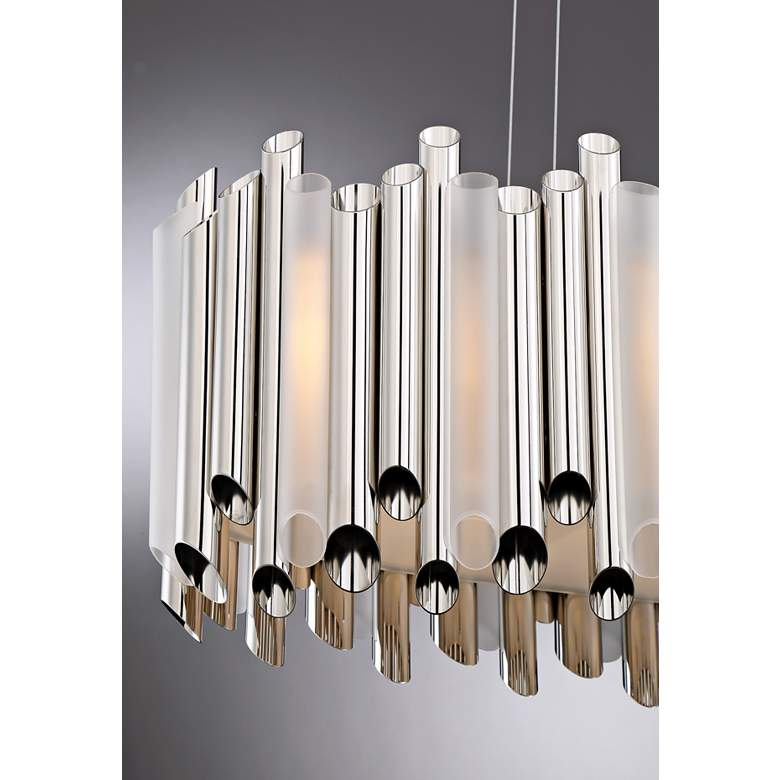 "Quoizel Pipeline 31 3/4""W Polished Nickel Island Chandelier more views"
