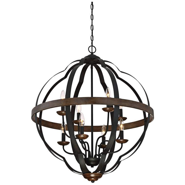 "Quoizel Siren 28""W 8-Light Black Metal Cage Foyer Chandelier more views"